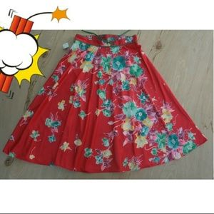 NWT Vintage JC Penney red floral circle skirt
